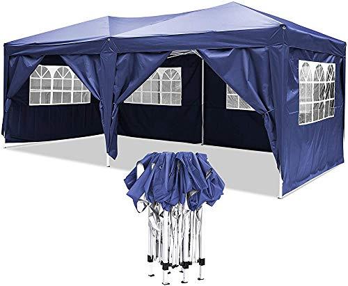 Pop-up Gazebo by a Sturdy Metal Frame, Heavy Pavilion, Suitable for Garden, Terrace, flea Market, Wedding, Birthday Party,Dark blue-3x6m