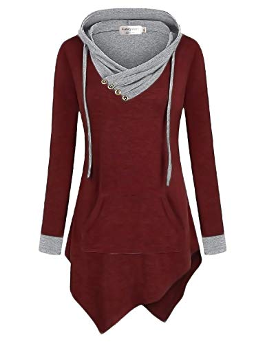 Kancystore Women's Fall Clothes Long Sleeves Button Cowl Neck Tunic Sweatshirt Top Blouse (Wine Red Grey, XL)