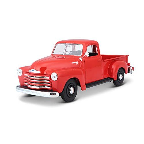 Maisto Chevrolet 3100 Pickup '50: Originalgetreues Modellauto 1:24, Türen und Motorhaube zum Öffnen, Fertigmodell, 20 cm, rot-orange (531952)