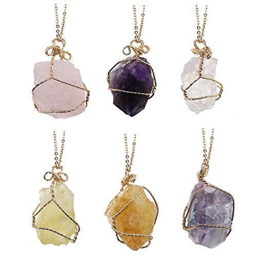 OTOTEC Juego de 6 collares de cristal mineral, irregulares de 6 colores, con colgante hueco de alambre de piedra, regalo para mujeres y niñas