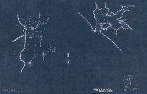 Vintography 18 x 24 Blueprint Style Reproduced Old Map 1758Havana. Vera Cruz None 1876BL_