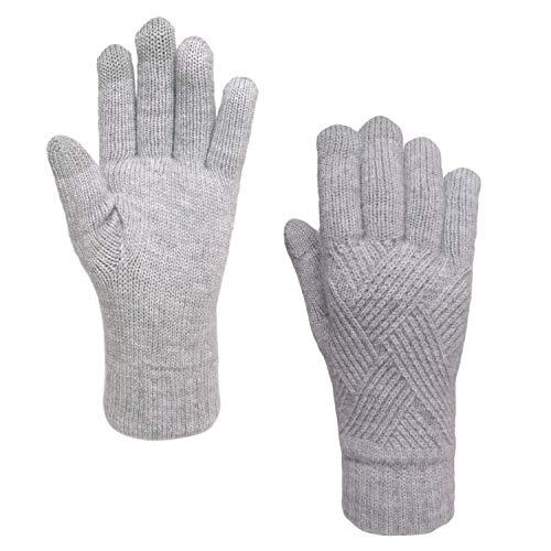 Winter Touchscreen Handschuh Frauen Kabel stricken Thermal Soft Lined Texting Elastic Cuff 3 Finger im Freien Handschuhe