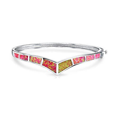 Geometrische Boho Chevron Rosa Opal V Armreif Für Damen Für Jugendlich 925 Sterling Silber Oktober Geburtsstein Erstellt