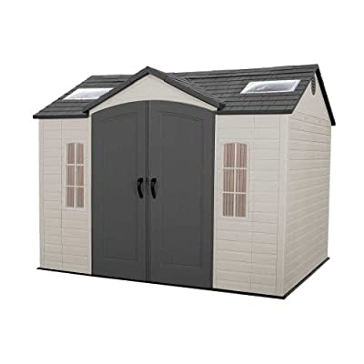 Lifetime 60005 Outdoor Storage Shed with Windows, Skylights and Shelving, 8 by 10 Feet