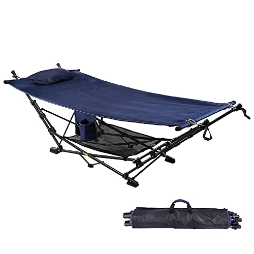 RedSwing Portable Folding Hammock with Stand, Collapsible Foldable Hammock with Stand Includes Removable Pillow, Storage Net, Side Pocket with Cup Holder for Camping Beach Patio, Blue