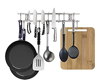 18 Inch Stainless Steel Magnetic Knife Strip,with 8 Removable Square Hooks,Multi-use as Knife Holder Utensil Rack Cookware Rack Cutting Board Rack Space Saving Organizer for Kitchen