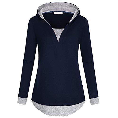 Pullover Damen Hoodie Langarm Patchwork V Ausschnitt Locker Asymmetrisch Daily Basic...