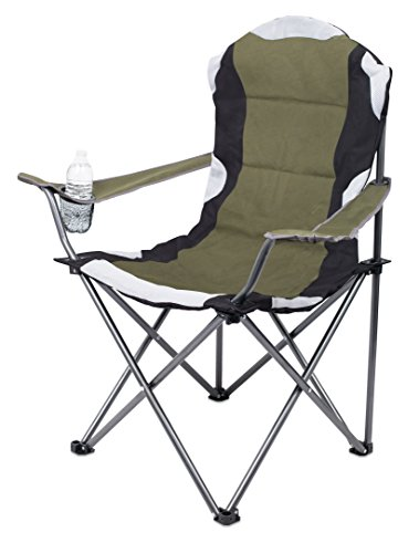 Internet's Best 2 Pack Padded Camping Folding Chair - Outdoor - Green - Sports - Cup Holder - Comfortable - Carry Bag - Beach - Quad
