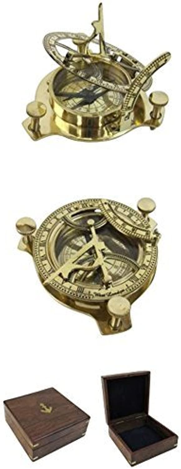 Folding Brass Sun Dial Compass w  Wooden Case Outdoor Camping Gear by Armor Venue
