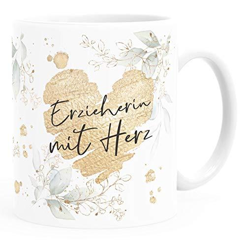 SpecialMe® Kaffee-Tasse [Wunschtext] mit Herz - soziale Berufe, Familie, Freunde kleines Dankeschön Geschenk Danke sagen Erzieherin weiß Keramik-Tasse