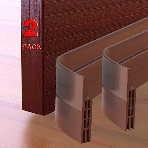 """GroTheory 2 Pack Door Draft Stopper, Under Door Draft Blocker, Soundproof Door Sweep Weather Stripping for Doors, 2"""" W x 39"""" L, Brown"""