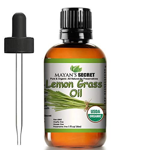 USDA Certified Organic Lemongrass Essential Oil (100% Pure & Natural - UNDILUTED) Therapeutic Grade - Huge 1oz Bottle - Perfect for Aromatherapy, Relaxation, Skin