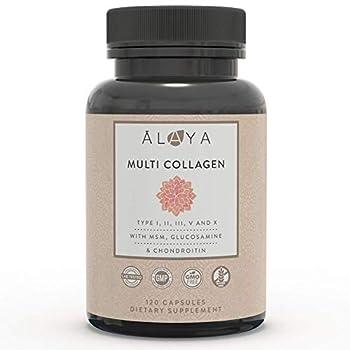 Alaya Naturals Hydrolyzed Multi Collagen Peptides Protein Powder - Type I II III V X Grass-Fed Bovine Chicken Marine Collagen Powder Supplement with MSM Powder + GC  Capsules - 120 Count