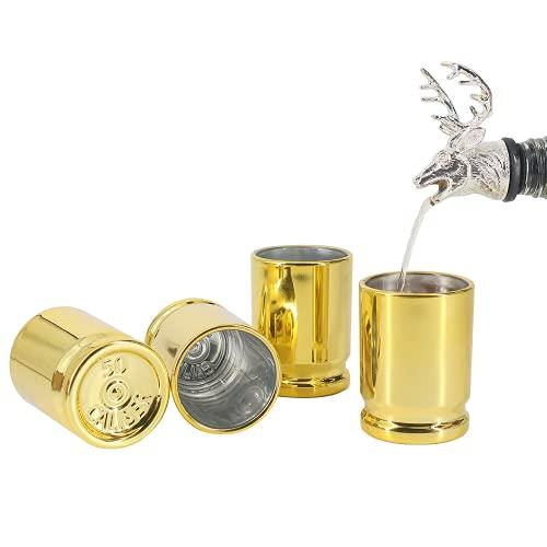 HUNTPRO 50 Caliber Shot Glass Set of 4 Shot Glasses, Plastic Golden...