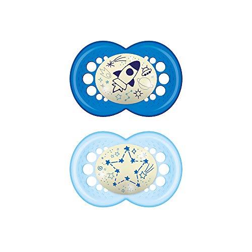 MAM Original Night Astro, Set de 2 Chupetes de Silicona, Azul, 16+ Meses