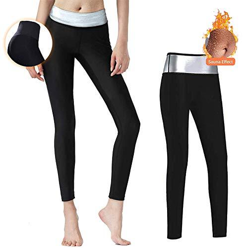 Moonssy Pantaloni Sauna Donne Yoga Fitness, Pantaloni Dimagranti da Donna, Hot Shaper Pantaloni Dimagrante in Neoprene Termico (Nero, L)