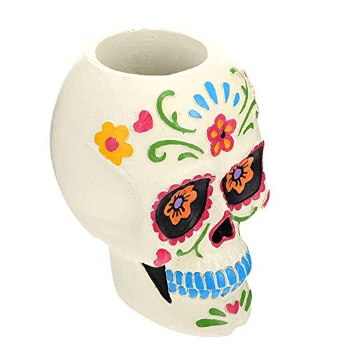 jojofuny Cráneo de Azúcar Maceta de Flores Día de Los Muertos Plantador Resina Suculenta Contenedor Mini Bonsai Titular para Paisaje de Jardín de La Habitación ( )