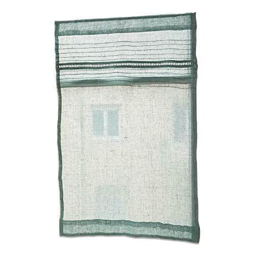 Loberon Scheibengardine Vignoles, Leinen, H/B 70/45 cm, grün