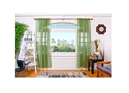 """All American Collection Doli Sheer Curtains   Two 54"""" x 84"""" Panels (Sage)"""