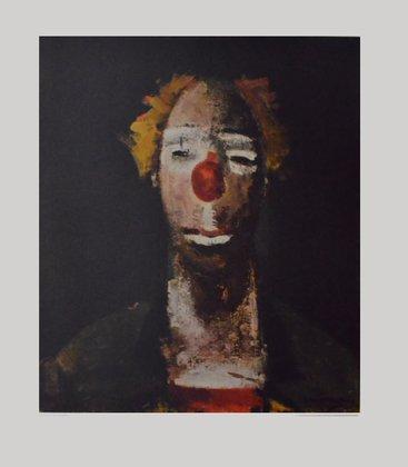 Germanposters Joseph Kutter Kunstdruck Bild hochwertiger Lichtdruck Clown mit Ziehharmonika 76,5x63,3cm