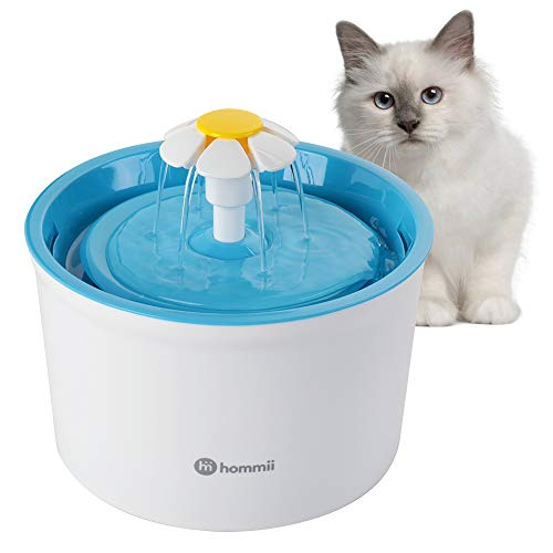 Hommii Pet Drinking Water Flower Fountain for Cats and Dogs Pets, Cat Dog Water Dispenser, Automatic Electric 1.6L Super Silent