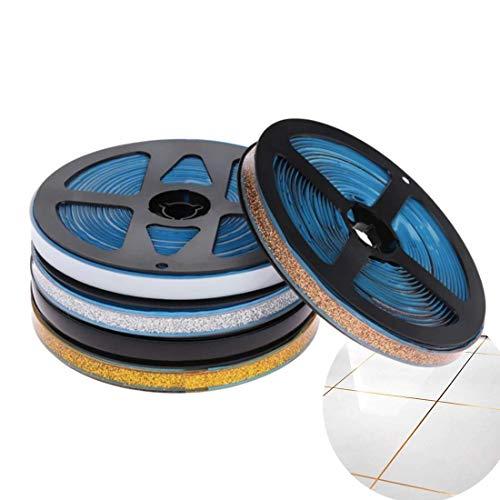 Pamura - Ceraband - Wanddeko - selbsklebendes Keramikband (6 Meter pro Rolle) - Dekoband - Fugenband - wasserabweisend - DIY - für Küche, Bad & Co (15 mm, Silber)