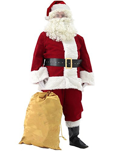 Svansea Men's Deluxe Santa Suit 11pc. Christmas Ultra Velvet Adult Santa Claus Costume Red L