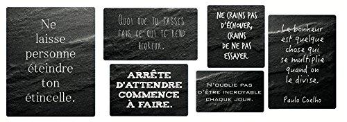 Décoration Murale adhésive Panneau de Phrases A 152359 Noir 24 x 0,1 x 68 cm