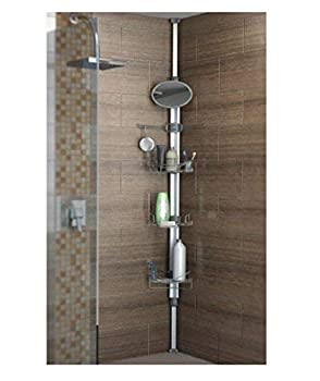 Artika typh2-l2 Typhoon 2 TYPH 2 Extendable Shower Caddy with 1 Mirror and Adjustable Racks and Shelves Stainless Steel