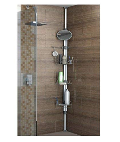 Artika typh2-l2 Typhoon 2 TYPH 2 Extendable Shower Caddy with 1 Mirror and Adjustable Racks and Shelves, Stainless Steel