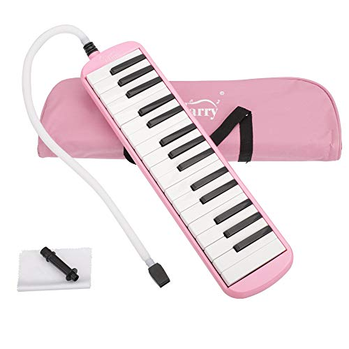 32 Key Melodica Instrument with Mouthpiece Air Piano Keyboard, Beginners Kids Gift (Pink)