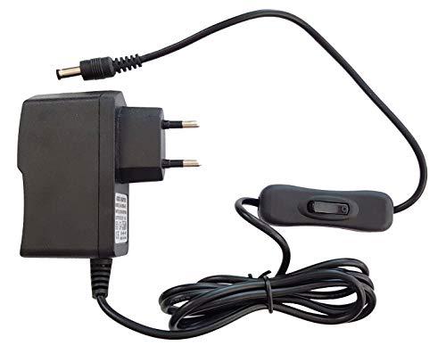 Fuente de alimentación de 12 V, adaptador CA/CC con interruptor, 0,5 A (500 mA), adaptador de corriente para LED y más