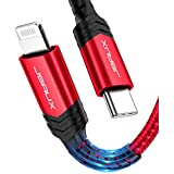 USB C to Lightning Cable 6FT, JSAUX [Apple MFi Certified] Lightning to USB-C iPhone Fast Charging Cable Compatible with iPad 8th 2020, iPhone 11/11 Pro/11 Pro Max/X/XS/XR/8, Support Power Delivery-Red