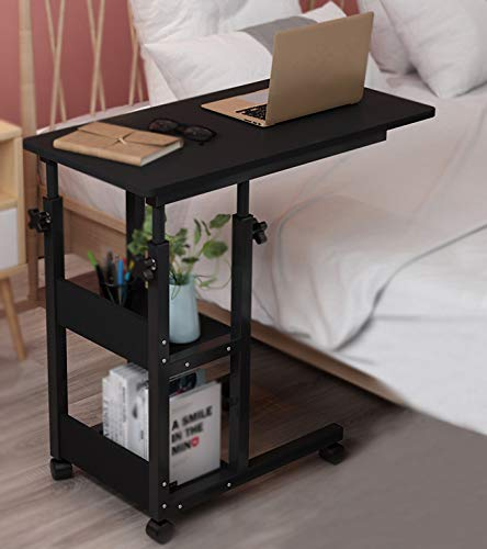 Height Adjustable Medical Overbed Table on Wheels 2-Tier Book Storage Shelves Mobile Laptop Computer Stand Desk TV Tray Sofa End Table Rolling Coffee Side Table Elder Hospital Reading Bed Table Cart