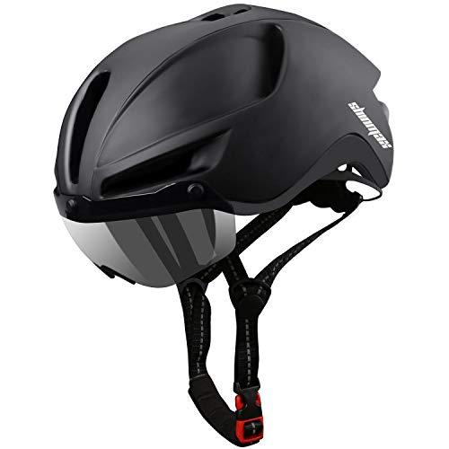 Shinmax Casco Bici,Casco Bici da Corsa con Luce LED,Certificato CE &Riflettente della Cintura di Sicurezza,Casco Bici Uomo con Visiera Parasole Rimovibile,Adulto Casco per Bici 60-64CM (RC-088)