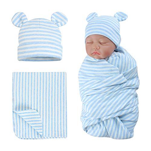 Original Cotton Newborn Swaddle Hat Set Striped Baby Beanies Bear Ears Infant Beanie (Blue Striped(Hat+Swaddle), Preemie)