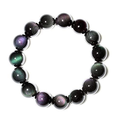 Pioneer Clan Natürliche Mexiko Obsidian Regenbogen Binoculus Perlen Stretch - Armband Aus Partei Schmuck über 7