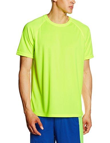 Fruit of the Loom - Camiseta Deportiva Transpirable de Manga Corta para Hombre - 100% poliéster (Grande (L)) (Amarillo Fluorescente)