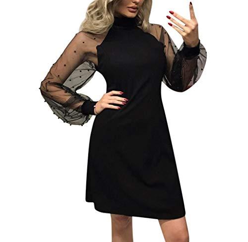 Donna Vestito da Sera Vestiti a Paillette Abito a Manica Lunga Abito da Cocktail Partito Nero Business Dress Abito Vintage Eleganti Manica Lunga
