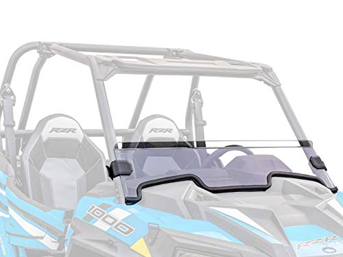 SuperATV Heavy Duty Clear Non-Scratch Resistant Half Windshield for Polaris RZR XP 1000/4 1000 (2019+) - 250X Stronger Than Glass - Installs in 5 Minutes!