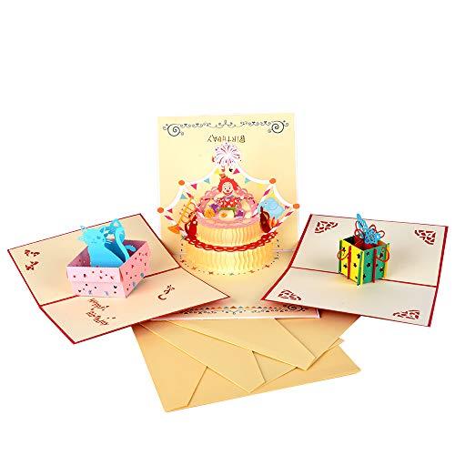 Racksoy 3PCS Pop Up Karten 3D Geburtstagskarten Katzenkarte| Geschenkkarte| Clown-Karte zum Kindergeburtstag- wunderbare Glückwunschkarte für Geburtstagsgrüße