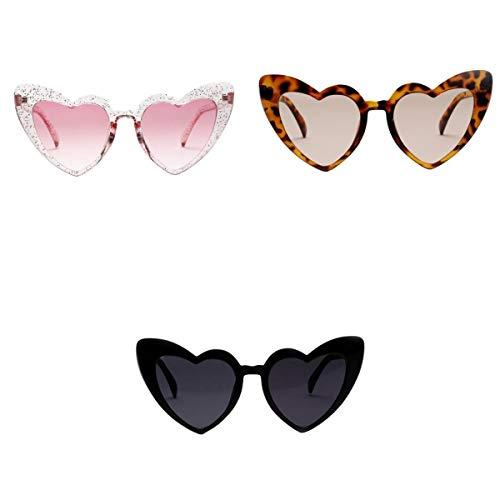 Amuzocity Gafas de Sol de 3 Piezas en Forma de Corazón, Estilo de Moda