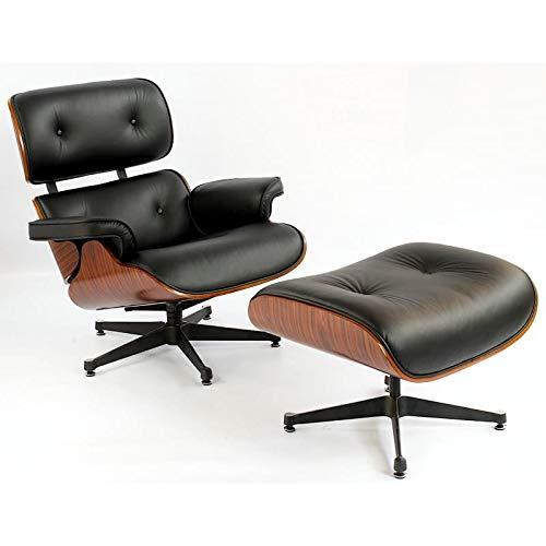 furnigo | Designer Sessel und Fußstütze, Premium Italian Leather, Reproduktion, Zeitlos, Szwarz und Weiß Farben, Reproduktion, Zeitlos (schwarz/Kirschholz)