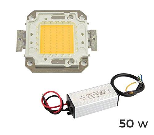 mws Kit Piastra LED + Driver Alimentatore fari Luce Calda 3000k da 50 Watt