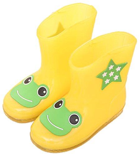 D.S.mor Kid's Cartoon Rain Boots Cute Rain Boots Best Kids Rubber Rain Boots (5.5 M Toddler, Yellow)