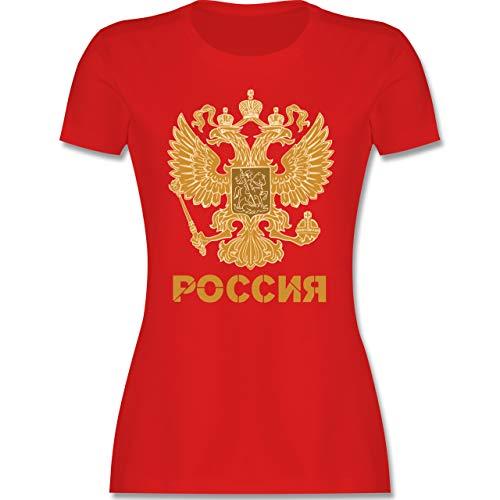 Länder - Russland Wappen hell - M - Rot - Tshirt Russland Damen - L191 - Tailliertes Tshirt für Damen und Frauen T-Shirt