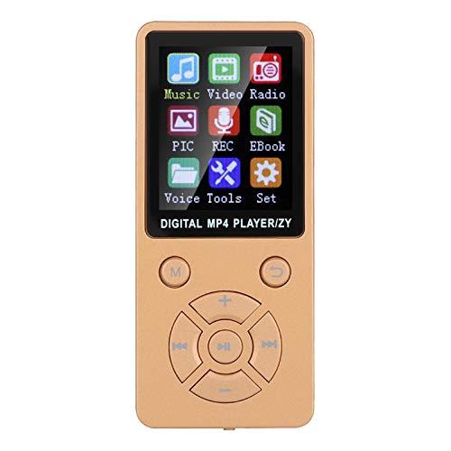 Socobeta Reproductor MP3, siete botones Diseño Breakpoint Resume Función MP4 Reproductor de música Múltiples modos de reproducción con 4.2 para radio de vídeo (oro rosa)