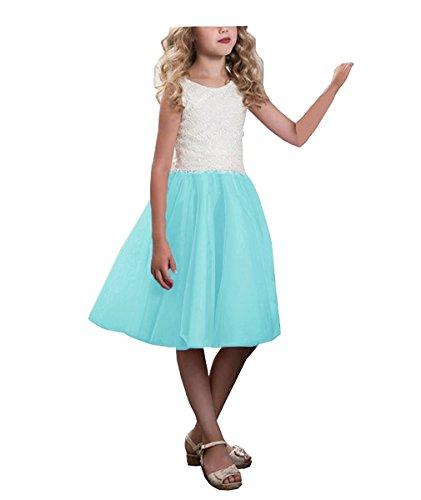 CLLA dress Mädchen Hochzeit Blumenmädchen Kleider Knielänge Partyskleid Kinderkleid Kommunionkleid Ballkleid(Aqua,7-8 Jahre)