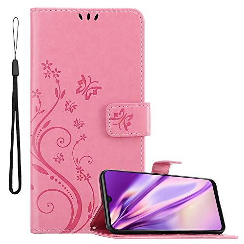 Cadorabo Custodia Libro per Samsung Galaxy A30S / A50 S / A50 in Rosa Fiore – in Design di Fiore con Chiusura Magnete, Funzione Stand e 3 Vani di Carte - Portafoglio Cover Case Protezione