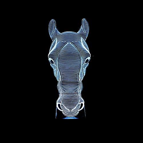 HNXDPPferdekopf 3d Lampe 7 Farbe TouchFernbedienung 3d Led Lampe Geschenk Led Nachtlicht Luminaria De Mesa 3d Leuchten